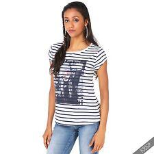 Gestreifte hüftlange Damen-T-Shirts aus Polyester