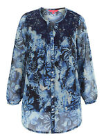 Together ladies blouse top tunic plus size 14 22 24 26 30 blue lace chiffon feel