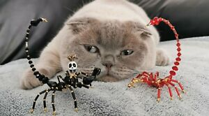 Beaded Black Crystal Skull Scorpion - Ornament / Christmas Tree Decoration