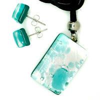 Murano Glass Pendant Earrings Set Aqua Silver from Venice