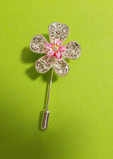 HAND PAINTED Sparkling PASTEL PINK FLOWER PIN Chrystal Diamante Christmas Lapel