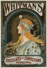 CHOCOLATES AND CONFECTIONS, 1920 by Alphonse Mucha Repro Canvas Print 20X28