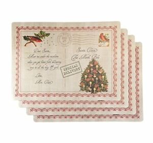 """""""Letter to Santa"""" Holiday Place Mat, Set of 4"""