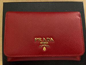 Prada Saffiano Card Holder wallet Red