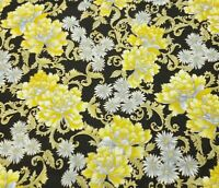 Asian Floral BTY Hoffman International Yellow Gray Gold Metallic Black