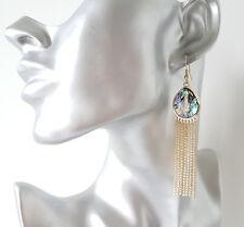 Stunning! 8cm long gold tone & shiny shell effect chain tassel drop earrings