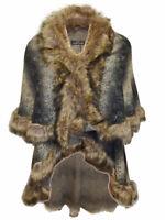 Plus Size Celeb Faux Fur Trim Open front Cape Coat OneSize Fit Bust 40-50 inches