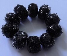 10 DARK PURPLE FROSTED/SUGAR COATED LAMPWORK BEADS  SRA