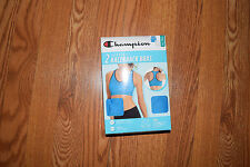 NIP Womens CHAMPION 2Pk Blue White Seamless Racerback Sports Bra M 34B - 36C