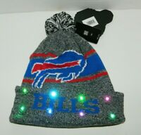 Buffalo Bills NFL Blue Grey Light up Hat Winter Cuffed Pom Beanie KNIT CAP Gift