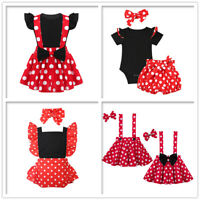 Toddler Girls Birthday Party Romper Set Polka Dots Skirt Princess Costume Outfit