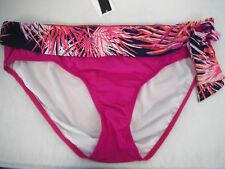 Alex Marie Size 10 Fuschia Palms Side Tie New Womens Swim Bikini Bottoms