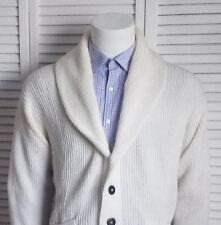NEW Mens SIZE XXL 2XL ALPACA Ivory White Ribbed Shawl Collar Cardigan Sweater