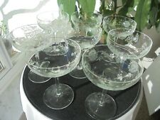 "Set of 8 Elegant Hand Blown Daisy Etched Champagne Glasses 5 3/4"" Tall"