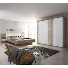 Schlafzimmer Set 2 Mosbach Bett Schrank in Sanremo Eiche hell und weiß mit LED