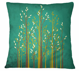S4Sassy Green Tree Printed Square Pillow Case Throw Cushion Cover-iX4