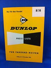 Dunlop Preisliste Fahrradreifen Handel H14 1963 ***WIE NEU***