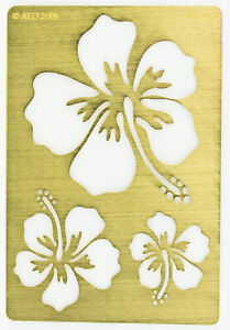 Solid Brass Stencil Template For Embossing & Stenciling Hibiscus GS-165