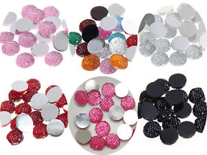 100 Flatback Resin Dotted Rhinestone Cabachons Round 10mm Craft Color Choice