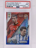 2014 WC Prizm Matchups Red White Blue Plaid Cristiano Ronaldo Lionel Messi PSA 9