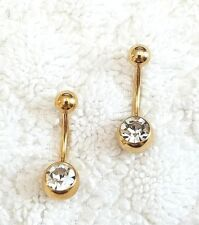 2 PCS 14G Gold Plated 316L Crystal Belly Button Nabel Ring Pierce Body Jewelry