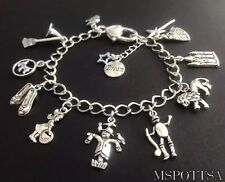 The Wizard of Oz Charm Bracelet Dorothy Scarecrow Tinman Lion Slippers Witch