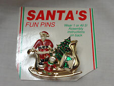 "Vintatge ""Santa's Fun Pins"" 5 Enamel Pin Set with Sleigh Carded Complete"