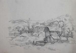 Vintage pencil drawing impressionist landscape