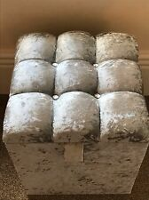 DRESSING TABLE STOOL BOX STORAGE IN SILVER crushed velvet CRYSTAL BRAND NEW