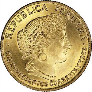 Peru 1943 10 Centavos CHOICE BU