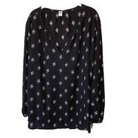 Old Navy Women's Size XXL Top Long Sleeve Black Floral Print V-Neck Blouse