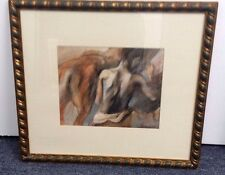 """VINTAGE UNSIGNED MAN & HORSE PENCIL DRAWING PAINTING FRAME 22 X 20 ART 12"""" X 10"""