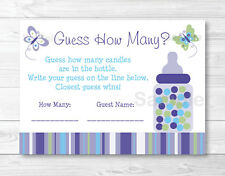 """Lavender Butterfly Garden Baby Shower """"Guess How Many?"""" Game Cards"""