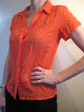 Gorman Size 8 Coral Pink Silk Cotton Summer Button Blouse Top
