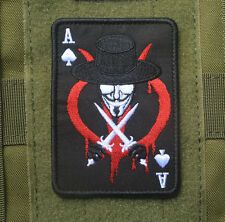 V for Vendetta Anonymous Freedom Embroidered Hook & Loop Patch Poker Badge Black