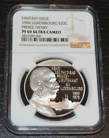 1996 Luxembourg Silver 20 Euro Prince Henry Fantasy Issue NGC PF 69 Ultra Cameo
