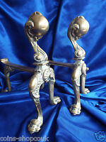 Antique  Matching Pair of Original Old  Brass  Fire Dogs Chippendale legs