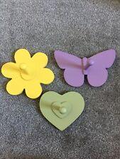 set of 3 children's hooks - butterfly, flower and heart