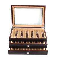 Fountain Pen Wood Display Case Organizer Storage Collector Box 3 Layer , 34 Pen