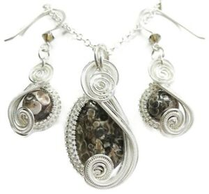 Sterling Silver Turritella Agate & Swarovski Crystal Earrings/Necklace Set