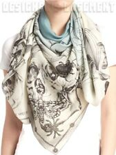 "ALEXANDER MCQUEEN ivory & blue BOTANICAL SKULL silk chiffon 54"" scarf NWT Authen"