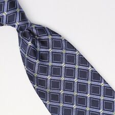 XMI Silk Necktie Navy Ice Blue Diamond Check Plaid Weave Woven Made in Italy Tie