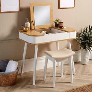 White Two Tone Dressing Table Vanity Set Square Mirror Makeup Desk Padded Stool
