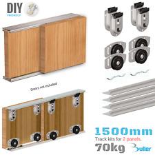 ARES Sliding Wardrobe Door Track Kit for DIY Bottom rolled for doors up to 70kg.