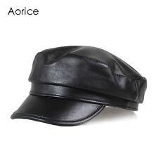 HL151 Fashion real leather men's baseball cap hat army caps school  newsboy hats
