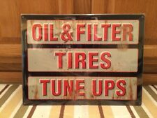 Oil Filter Tires Tune Ups Garage Shop Mancave Gas Oil Vintage Look Bottle Wall