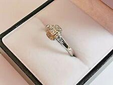 9ct 375 WHITE GOLD DIAMOND CLUSTER RING 9 gemstones bright white sparkly piece