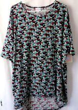 Lularoe Irma Shirt High Low Tunic Mid Sleeve Blue Wine Geometric Print XL #6697