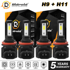 2Pair Combo H11 H9 High Low Beam LED Headlight Bulb Lamp for Nissan Altima 14-18