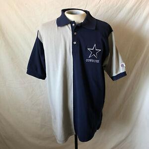 Vintage 90's The Game Dallas Cowboys Two Tone Polo Shirt XL Blue Gray VTG NFL